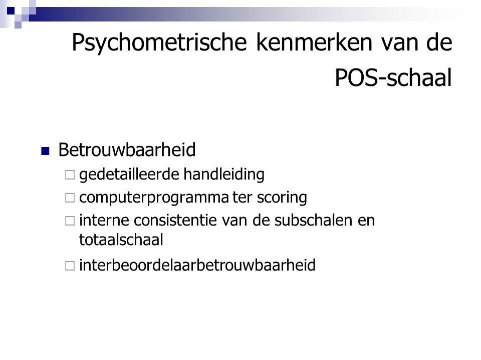 Psychometrische kenmerken van de POS-schaal