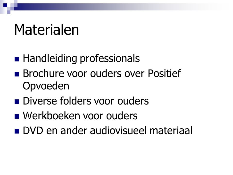 Materialen Handleiding professionals