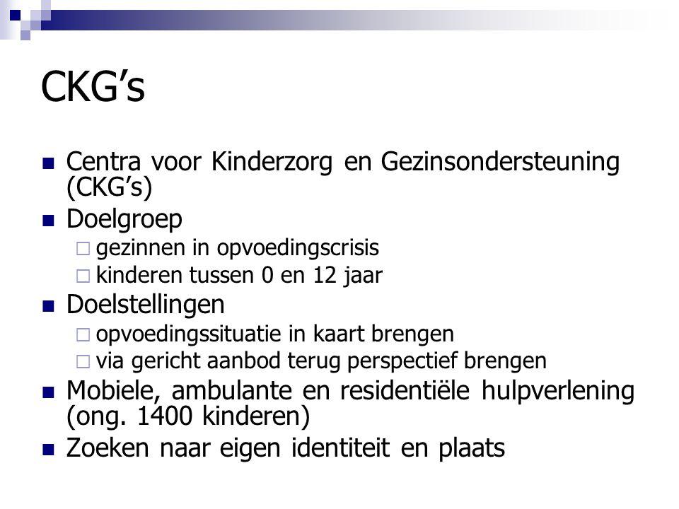 CKG's Centra voor Kinderzorg en Gezinsondersteuning (CKG's) Doelgroep