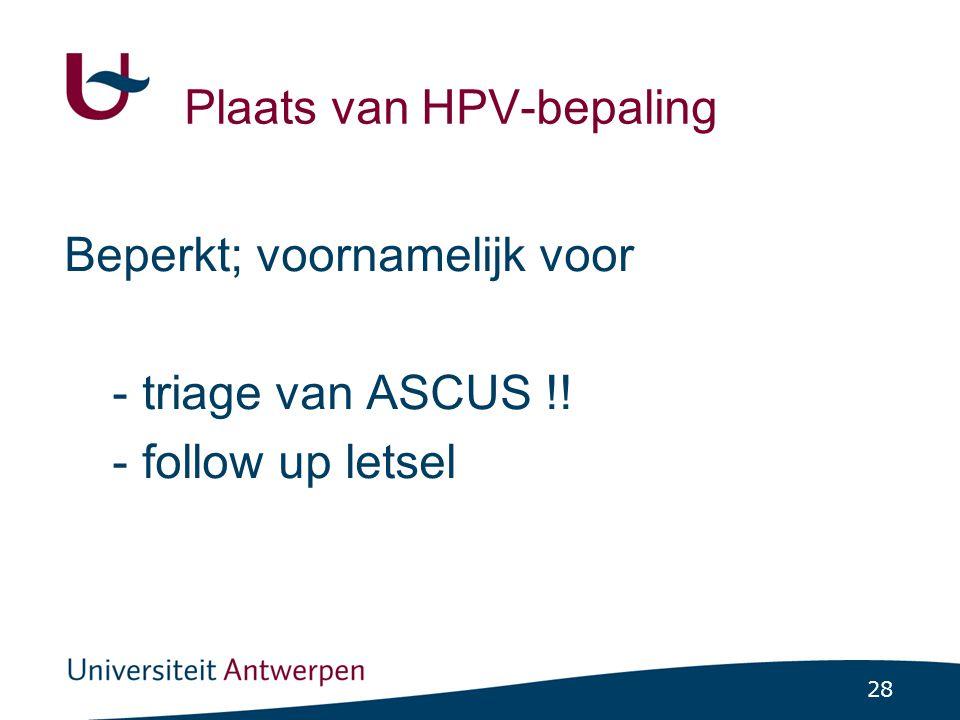 Plaats van HPV-bepaling