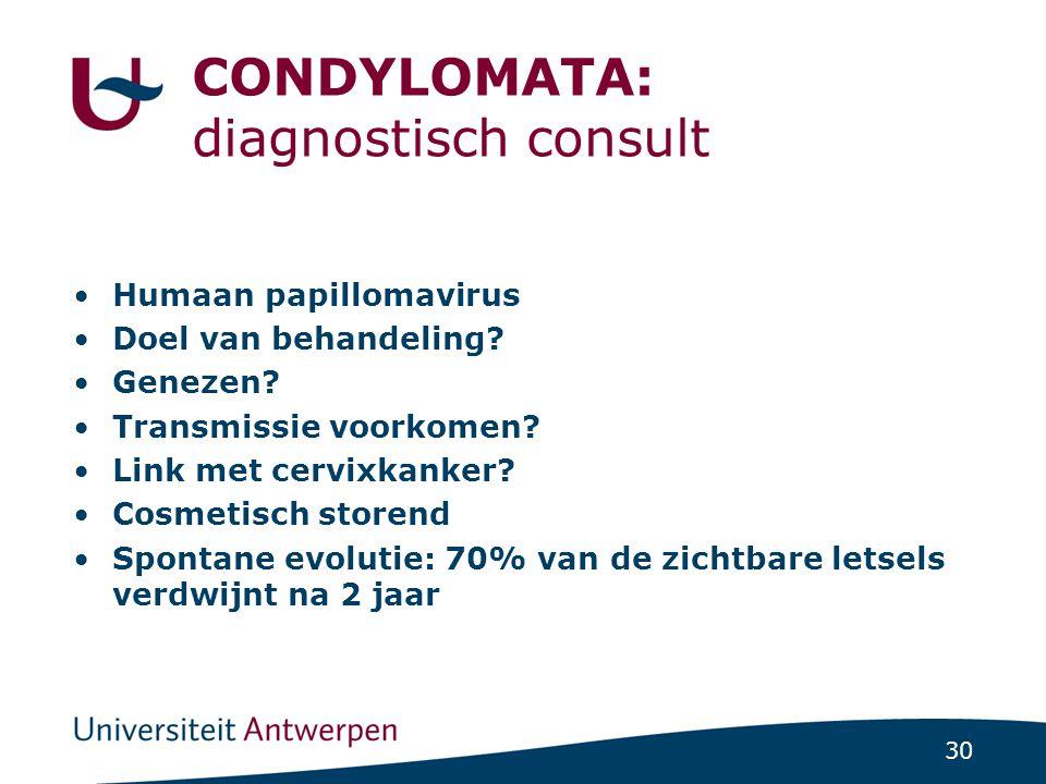 CONDYLOMATA: diagnostisch consult