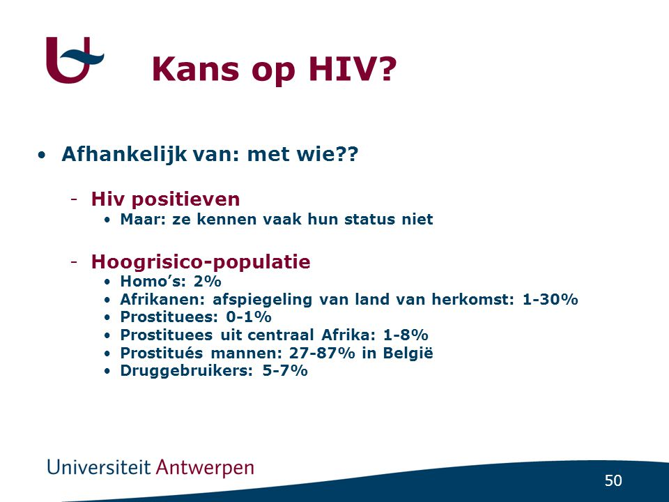 Kans op HIV Afhankelijk van: met wie Hiv positieven