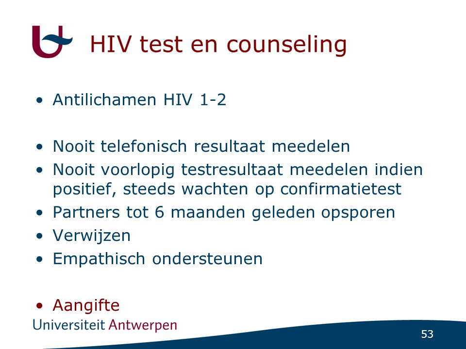 HIV test en counseling Antilichamen HIV 1-2