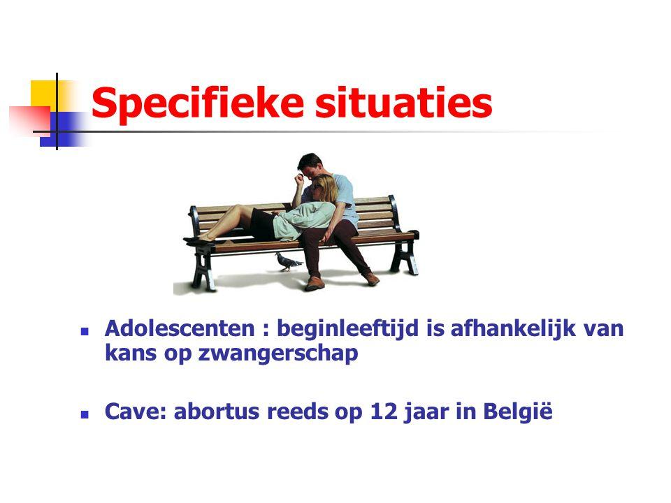 Specifieke situaties Adolescenten : beginleeftijd is afhankelijk van kans op zwangerschap.
