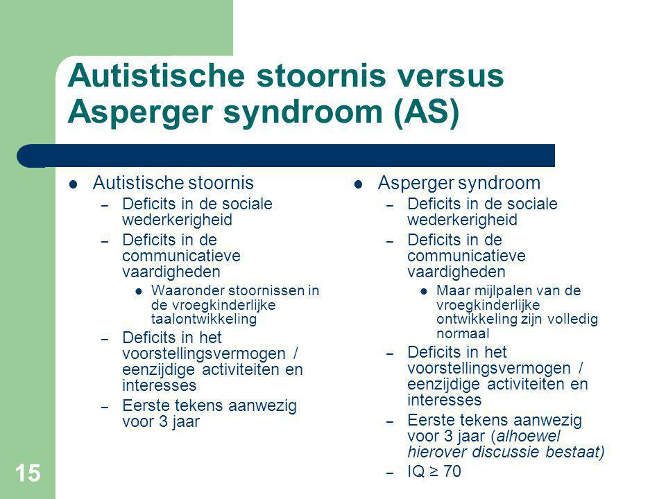 Autistische stoornis versus Asperger syndroom (AS)