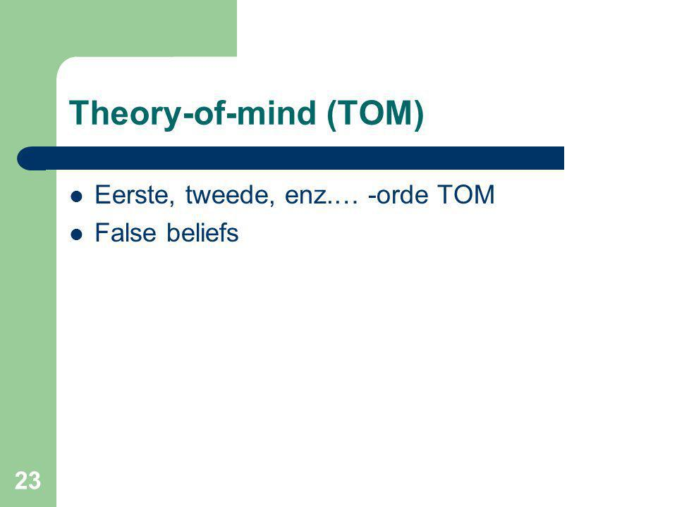 Theory-of-mind (TOM) Eerste, tweede, enz.… -orde TOM False beliefs
