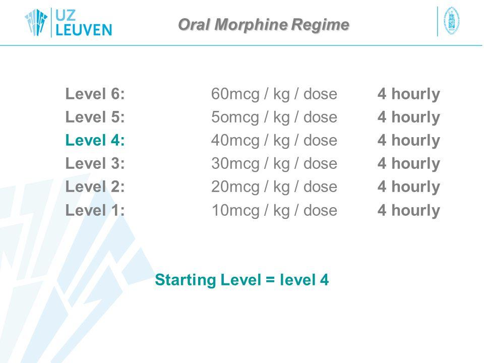 Level 6: 60mcg / kg / dose 4 hourly