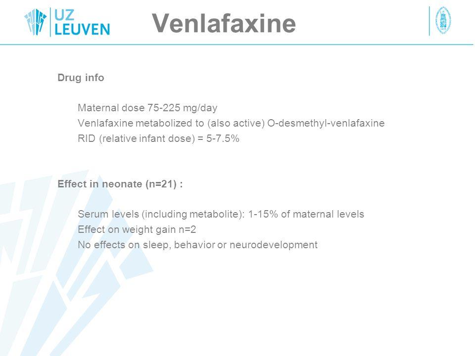Venlafaxine Drug info Maternal dose 75-225 mg/day