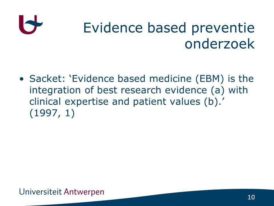 Evidence based preventie onderzoek