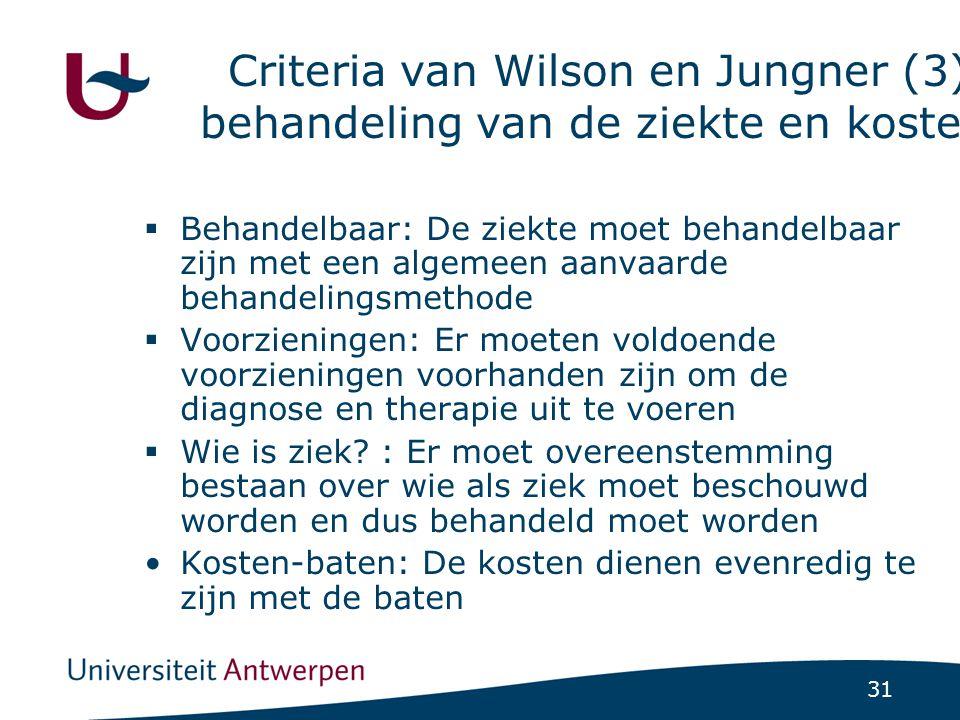 Criteria van Wilson en Jungner (3): behandeling van de ziekte en kosten