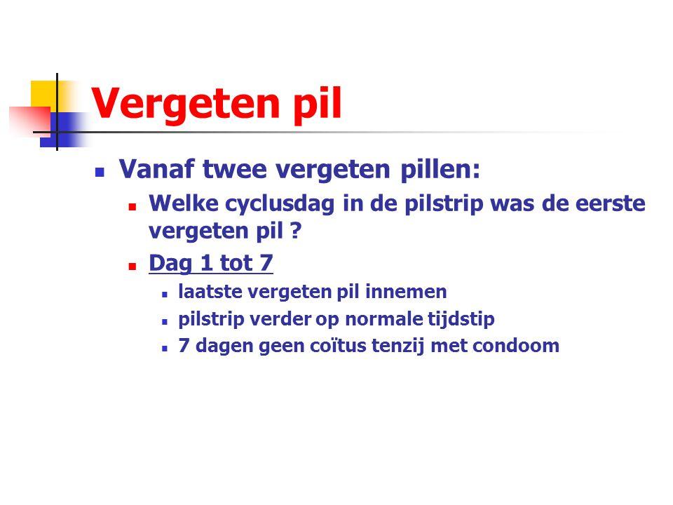 Vergeten pil Vanaf twee vergeten pillen: