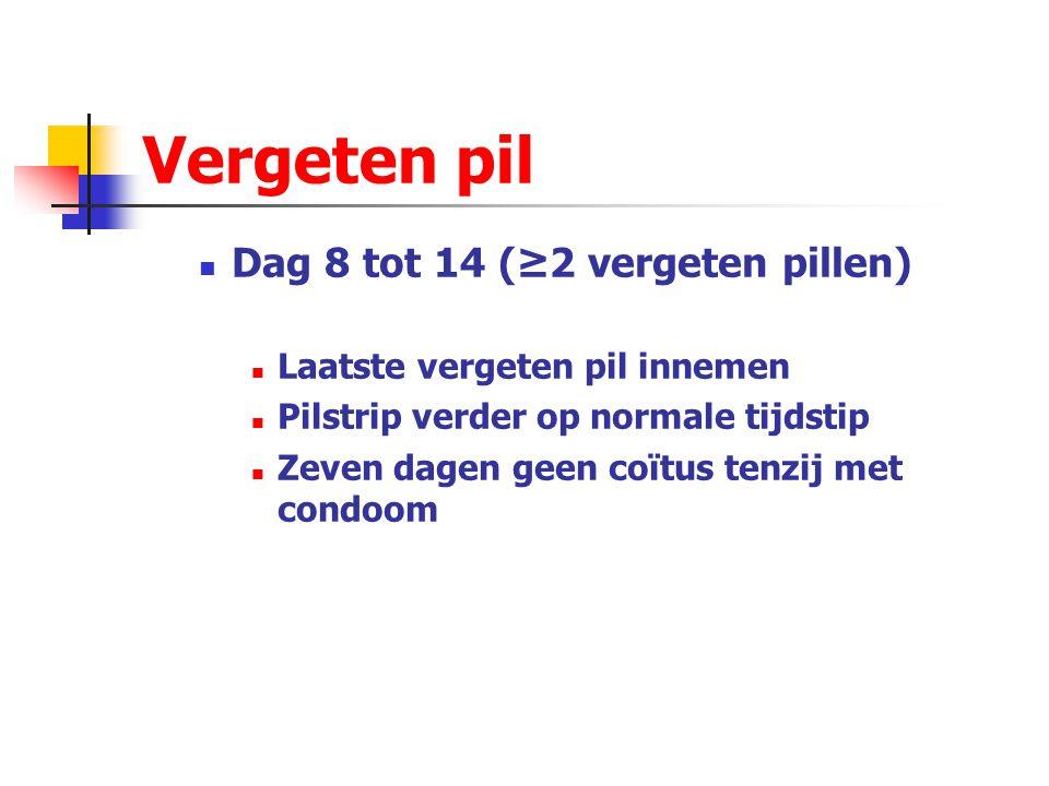 Vergeten pil Dag 8 tot 14 (≥2 vergeten pillen)