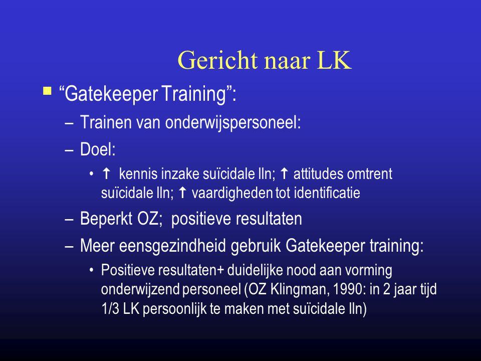 Gericht naar LK Gatekeeper Training : Trainen van onderwijspersoneel: