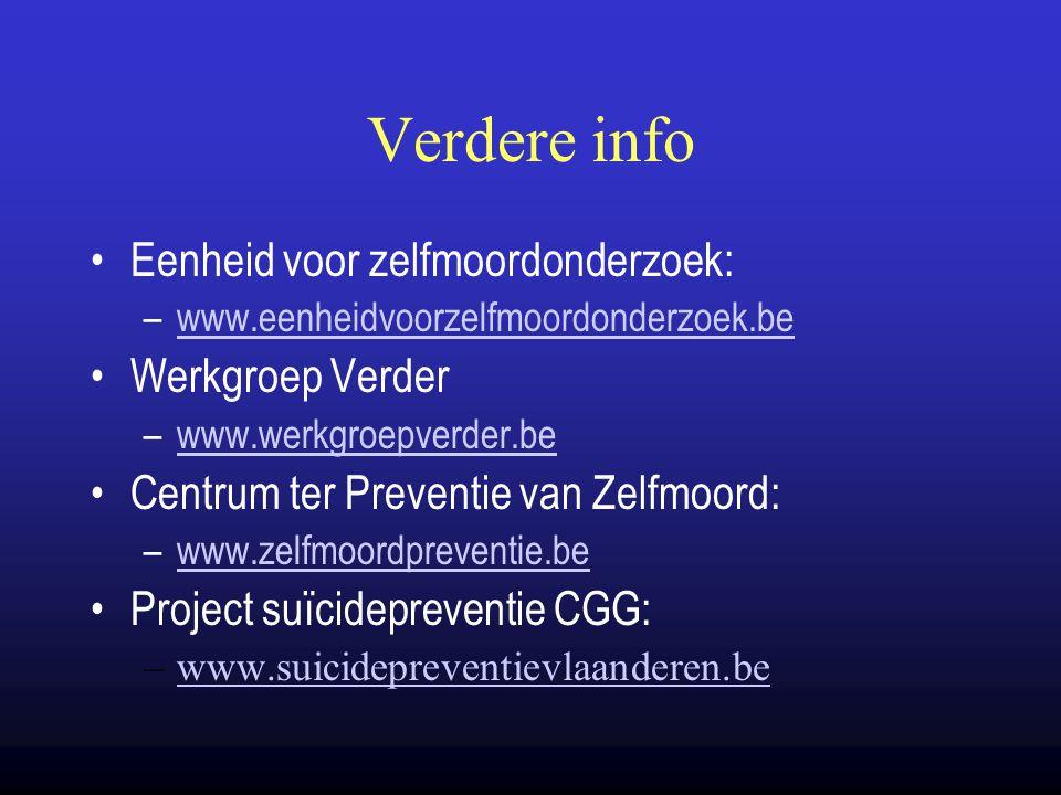 Verdere info Eenheid voor zelfmoordonderzoek: Werkgroep Verder