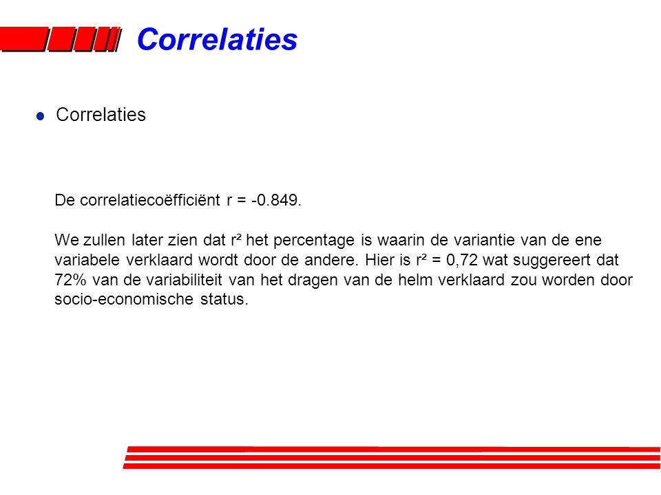 Correlaties Correlaties De correlatiecoëfficiënt r = -0.849.
