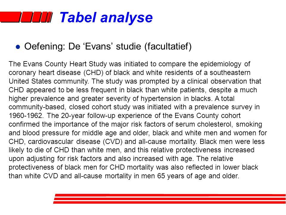 Tabel analyse Oefening: De 'Evans' studie (facultatief)