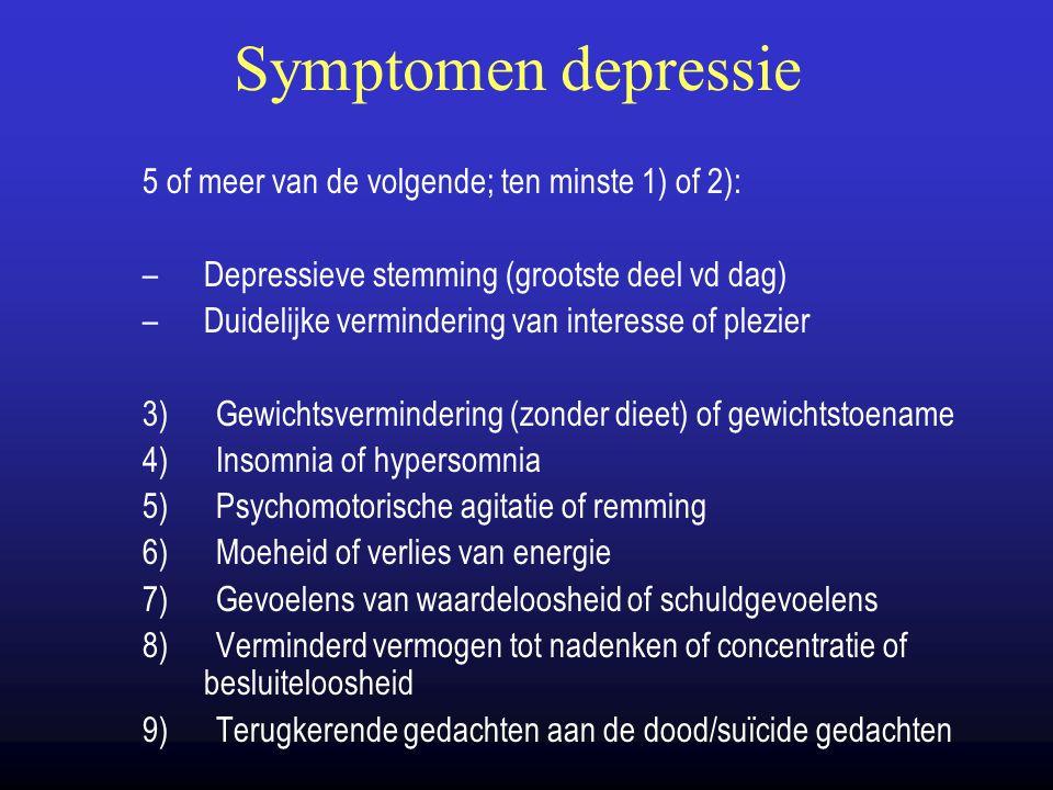 Symptomen depressie 5 of meer van de volgende; ten minste 1) of 2):