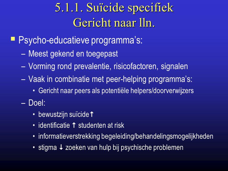 5.1.1. Suïcide specifiek Gericht naar lln.