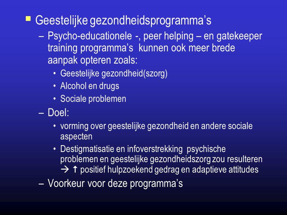 Geestelijke gezondheidsprogramma's