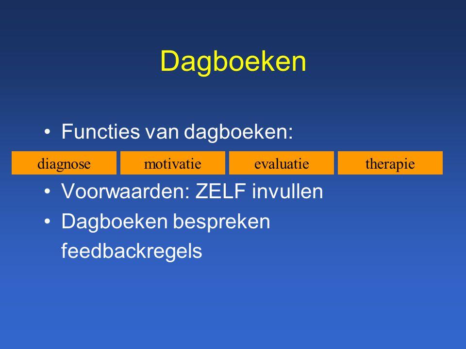 Dagboeken Functies van dagboeken: Voorwaarden: ZELF invullen