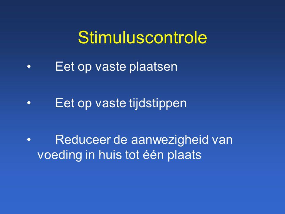 Stimuluscontrole Eet op vaste plaatsen Eet op vaste tijdstippen