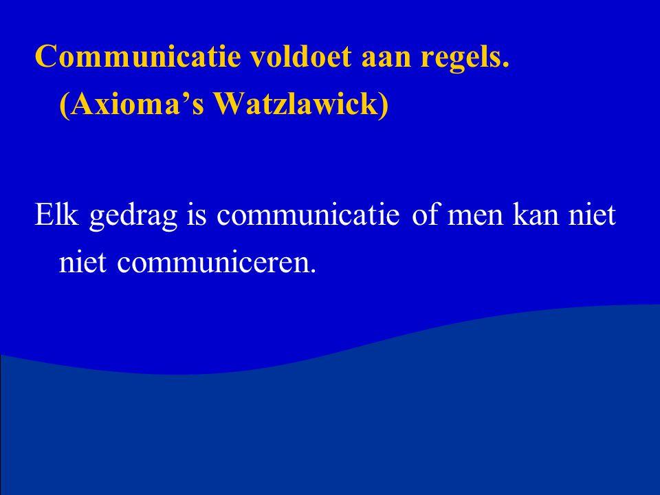 Communicatie voldoet aan regels. (Axioma's Watzlawick)