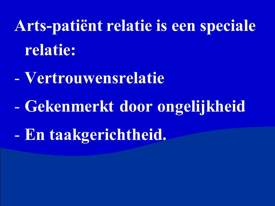 Arts-patiënt relatie is een speciale relatie: