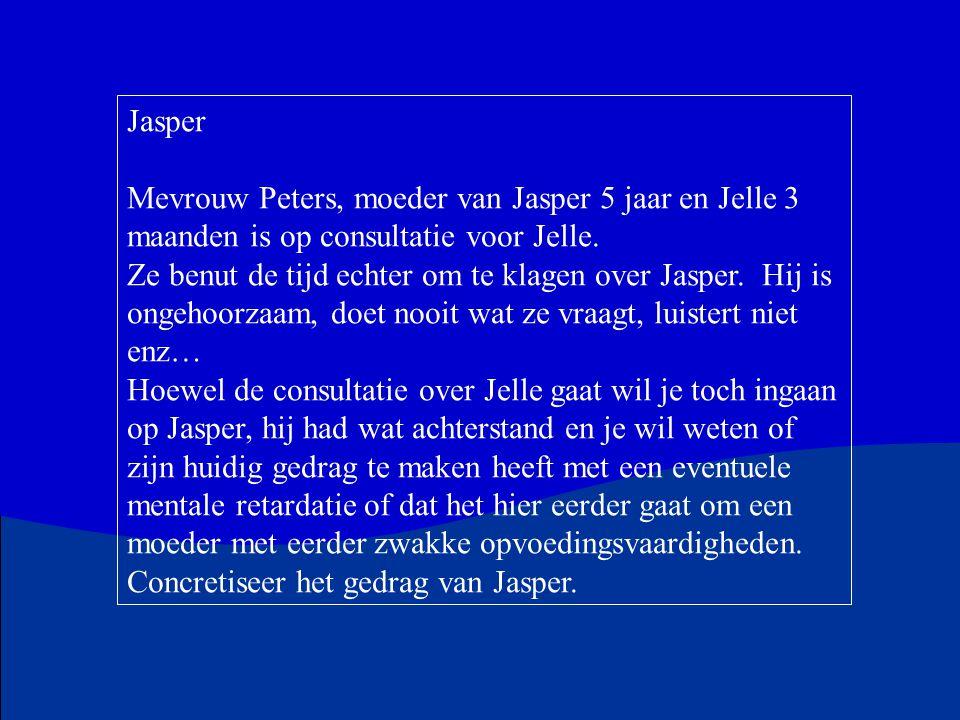 Jasper Mevrouw Peters, moeder van Jasper 5 jaar en Jelle 3 maanden is op consultatie voor Jelle.