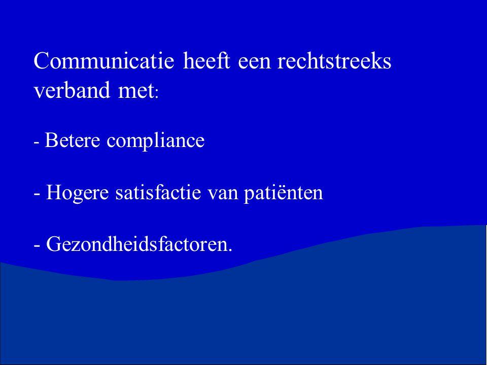 Communicatie heeft een rechtstreeks verband met: - Betere compliance - Hogere satisfactie van patiënten - Gezondheidsfactoren.