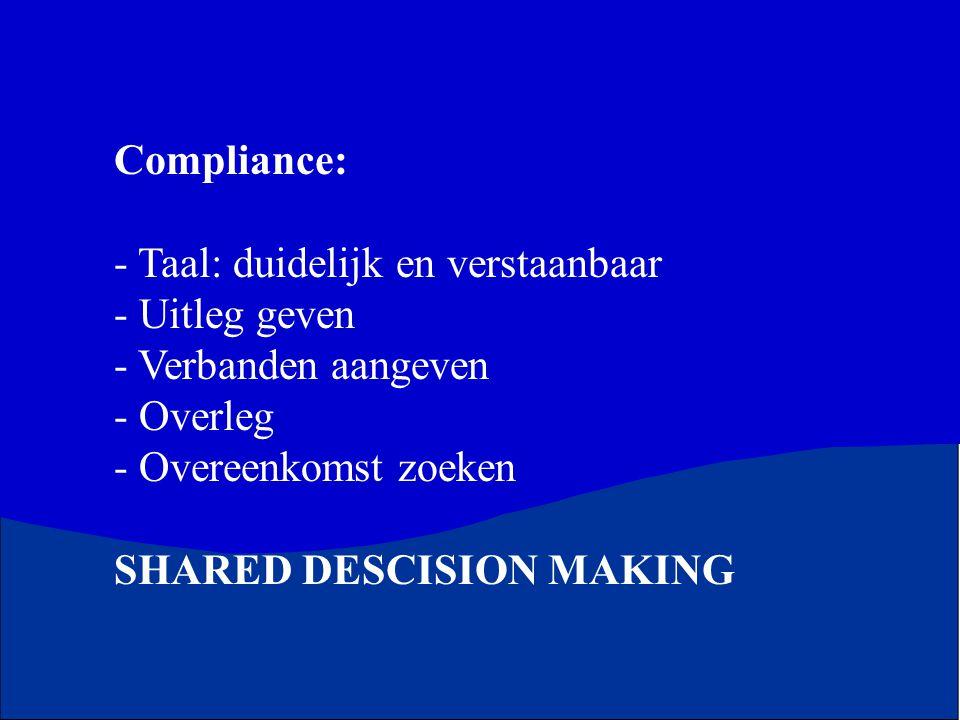 Compliance: Taal: duidelijk en verstaanbaar. Uitleg geven. Verbanden aangeven. Overleg. Overeenkomst zoeken.