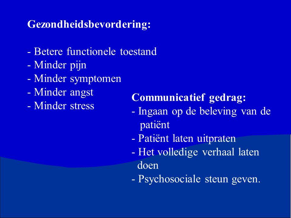 Gezondheidsbevordering: Betere functionele toestand Minder pijn