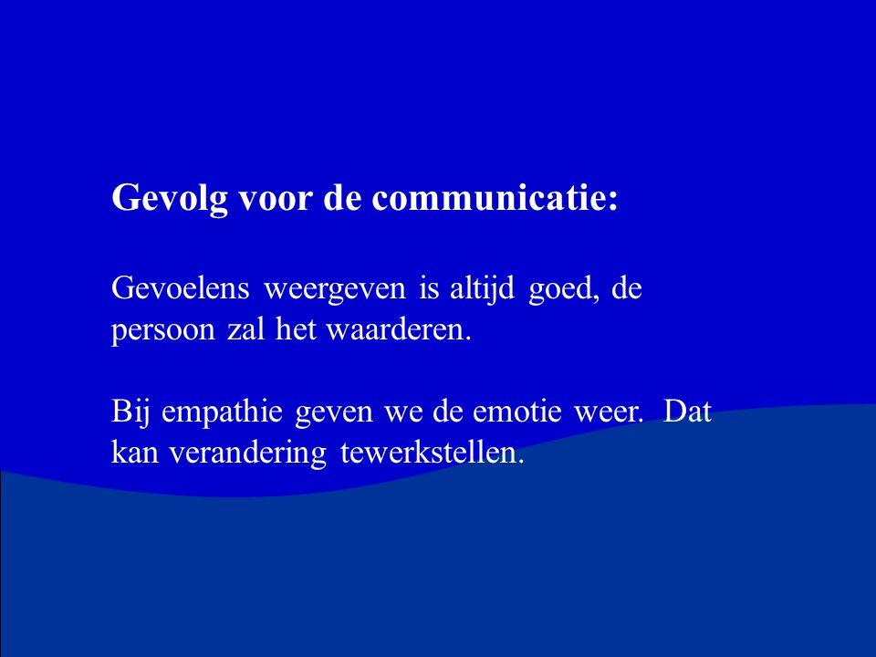 Gevolg voor de communicatie: