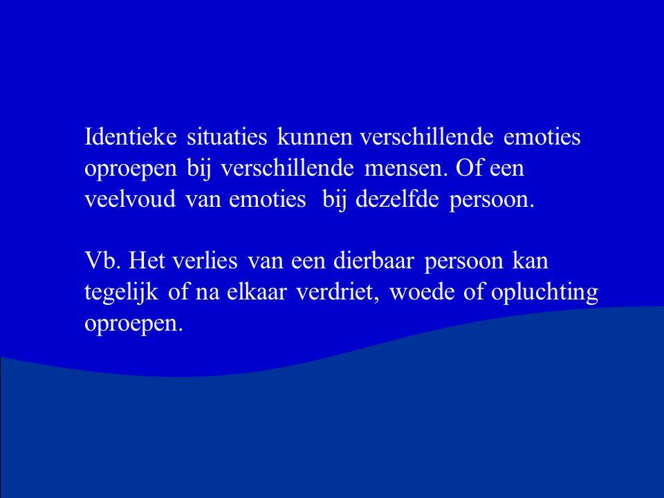 Identieke situaties kunnen verschillende emoties oproepen bij verschillende mensen. Of een veelvoud van emoties bij dezelfde persoon.