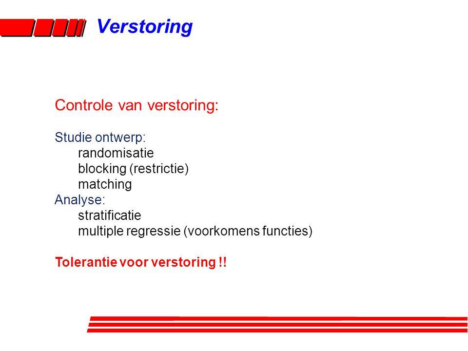 Verstoring Controle van verstoring: Studie ontwerp: randomisatie