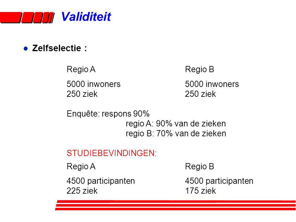 Validiteit Zelfselectie : Regio A Regio B 5000 inwoners 5000 inwoners