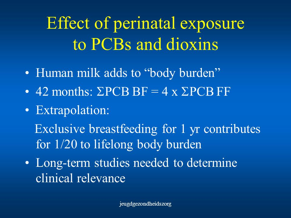 Effect of perinatal exposure to PCBs and dioxins