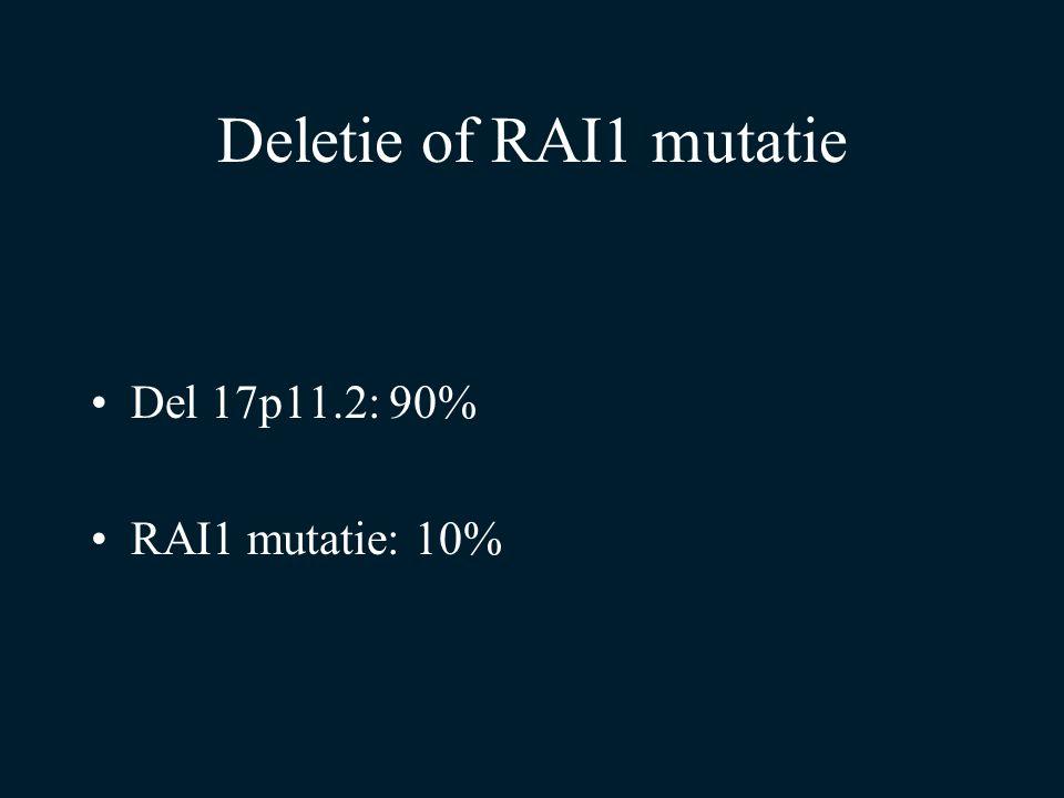 Deletie of RAI1 mutatie Del 17p11.2: 90% RAI1 mutatie: 10%
