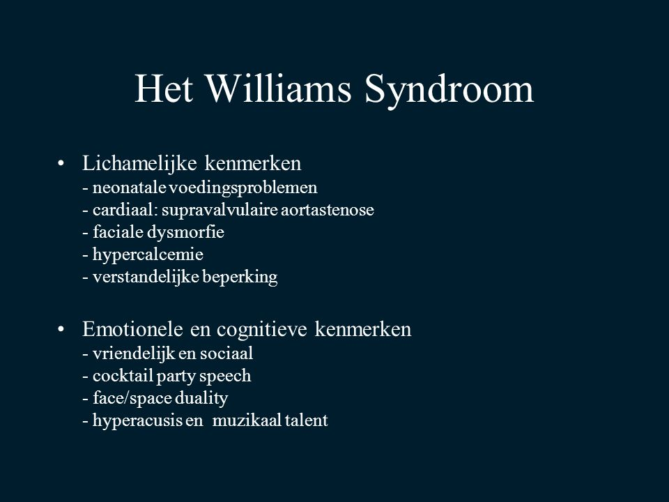 Het Williams Syndroom