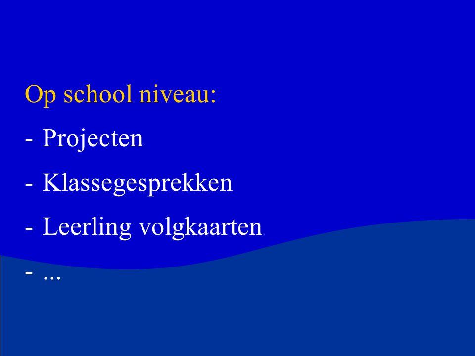 Op school niveau: Projecten Klassegesprekken Leerling volgkaarten ...