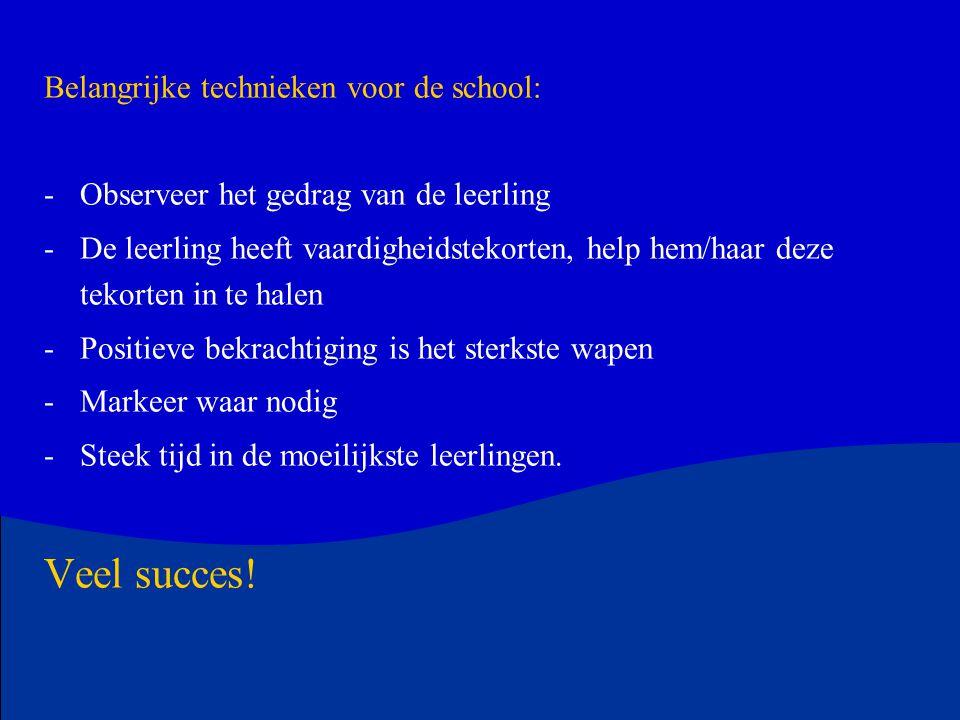 Veel succes! Belangrijke technieken voor de school: