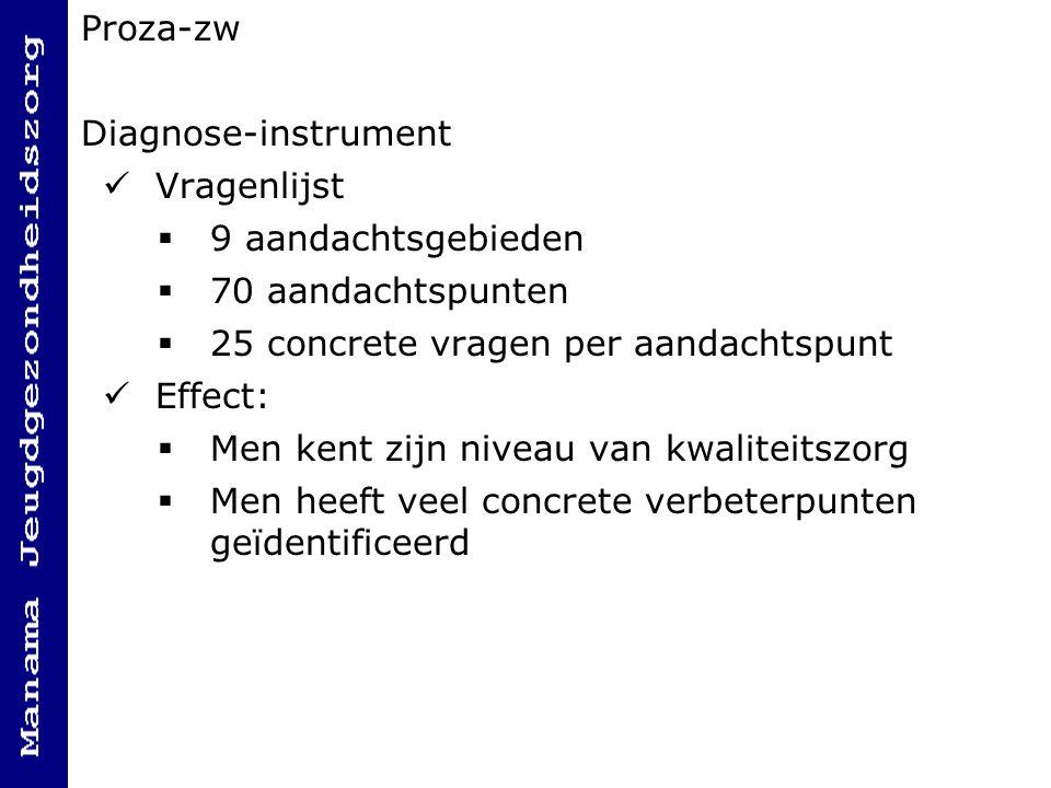Proza-zw Diagnose-instrument. Vragenlijst. 9 aandachtsgebieden. 70 aandachtspunten. 25 concrete vragen per aandachtspunt.