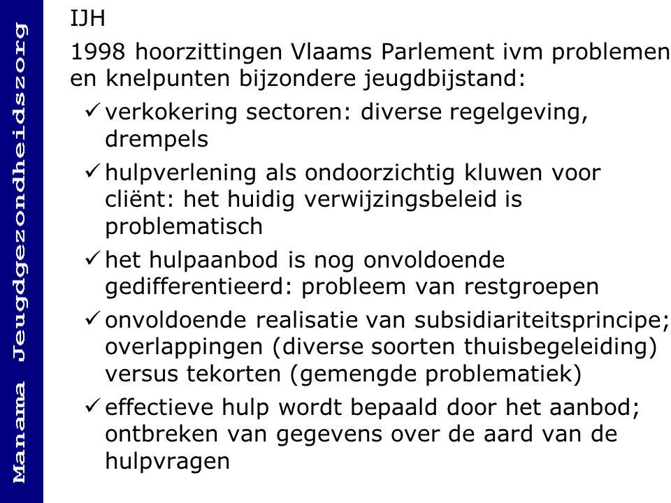 IJH 1998 hoorzittingen Vlaams Parlement ivm problemen en knelpunten bijzondere jeugdbijstand: verkokering sectoren: diverse regelgeving, drempels.
