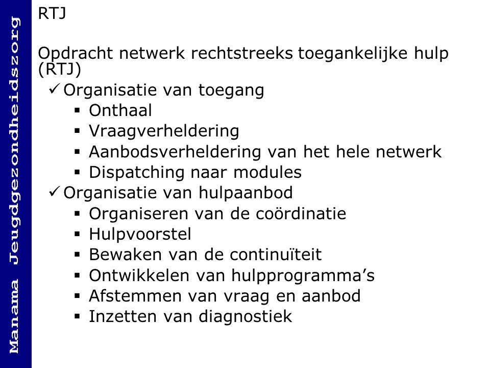 RTJ Opdracht netwerk rechtstreeks toegankelijke hulp (RTJ) Organisatie van toegang. Onthaal. Vraagverheldering.