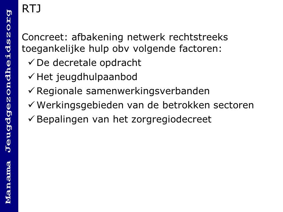 RTJ Concreet: afbakening netwerk rechtstreeks toegankelijke hulp obv volgende factoren: De decretale opdracht.