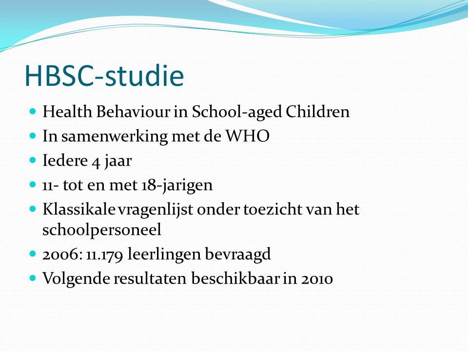 HBSC-studie Health Behaviour in School-aged Children