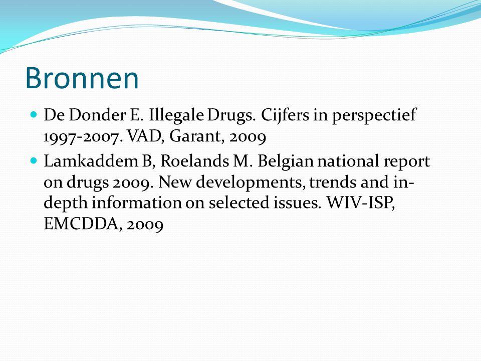 Bronnen De Donder E. Illegale Drugs. Cijfers in perspectief 1997-2007. VAD, Garant, 2009.