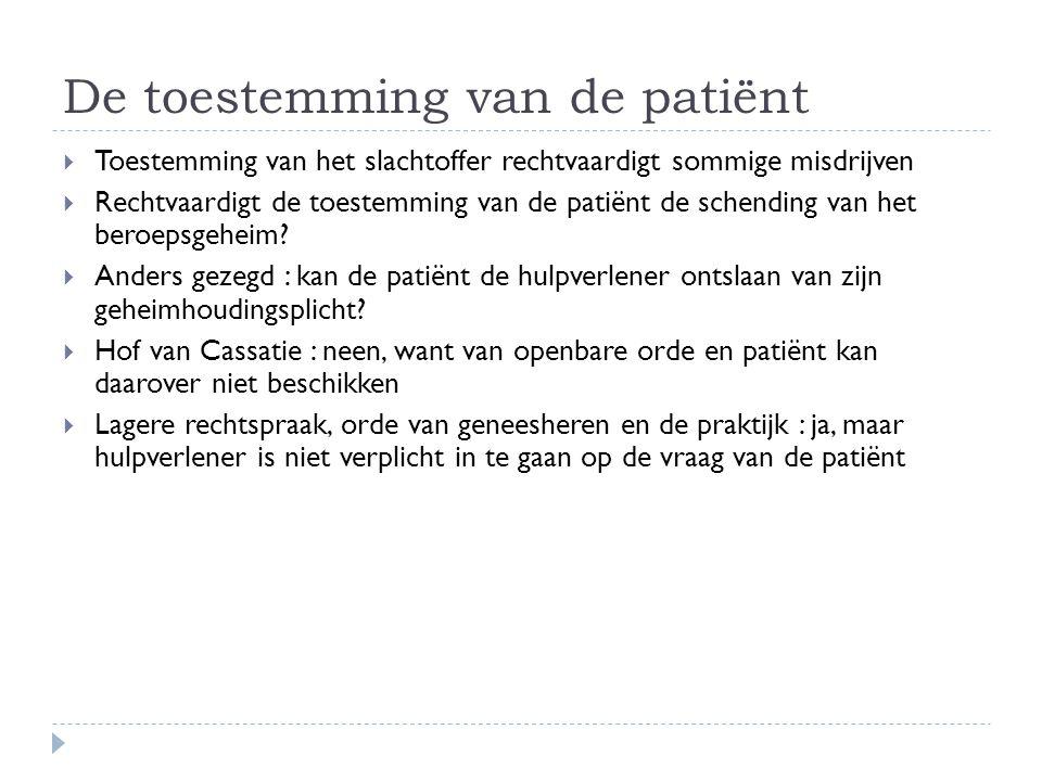 De toestemming van de patiënt