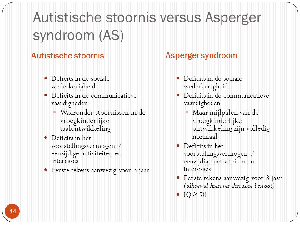 Autistische stoornis versus Asperger syndroom (AS)