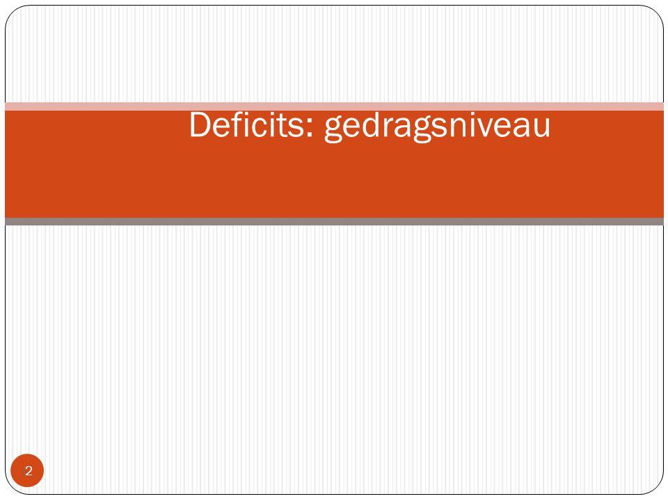 Deficits: gedragsniveau