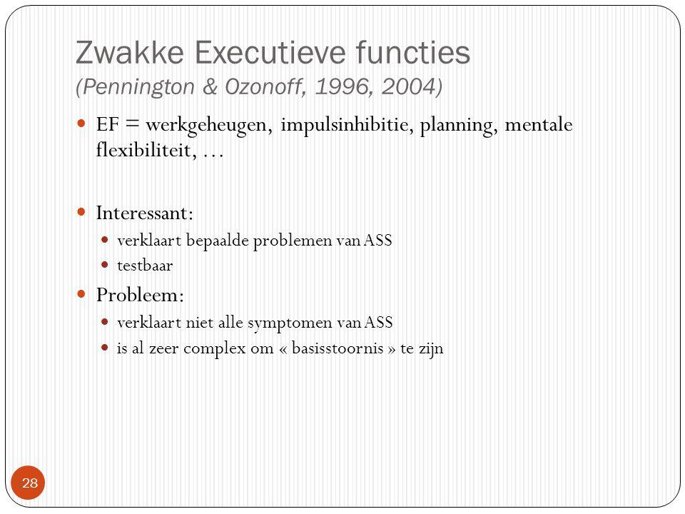 Zwakke Executieve functies (Pennington & Ozonoff, 1996, 2004)